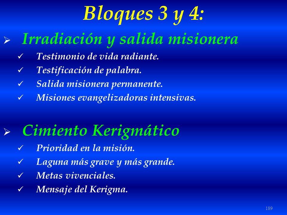 189 Bloques 3 y 4: Irradiación y salida misionera Testimonio de vida radiante. Testificación de palabra. Salida misionera permanente. Misiones evangel