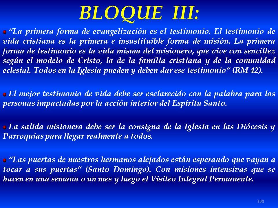 190 BLOQUE III: La primera forma de evangelización es el testimonio. El testimonio de vida cristiana es la primera e insustituible forma de misión. La