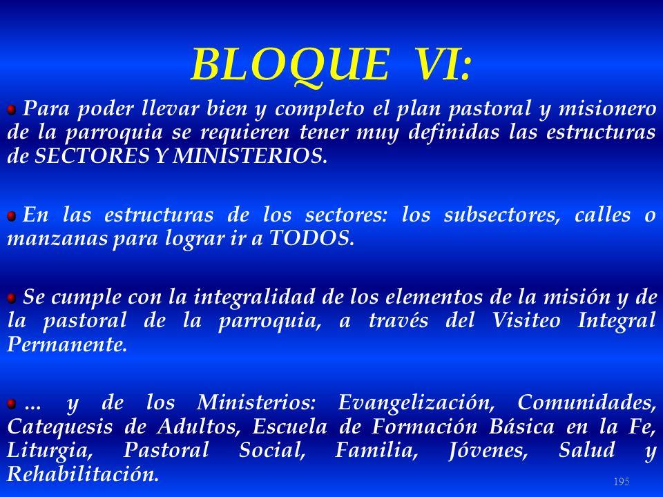 195 BLOQUE VI: Para poder llevar bien y completo el plan pastoral y misionero de la parroquia se requieren tener muy definidas las estructuras de SECT