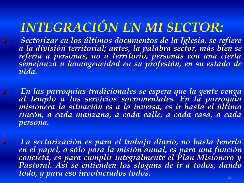 21 INTEGRACIÓN EN MI SECTOR: Sectorizar en los últimos documentos de la Iglesia, se refiere a la división territorial; antes, la palabra sector, más b