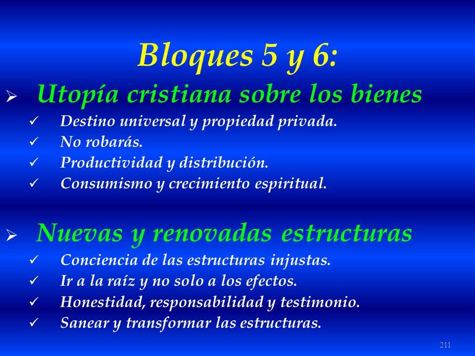 211 Bloques 5 y 6: Utopía cristiana sobre los bienes Destino universal y propiedad privada. No robarás. Productividad y distribución. Consumismo y cre