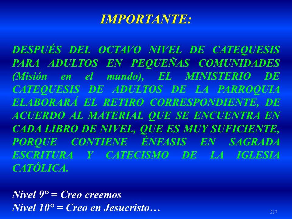IMPORTANTE: DESPUÉS DEL OCTAVO NIVEL DE CATEQUESIS PARA ADULTOS EN PEQUEÑAS COMUNIDADES (Misión en el mundo), EL MINISTERIO DE CATEQUESIS DE ADULTOS D