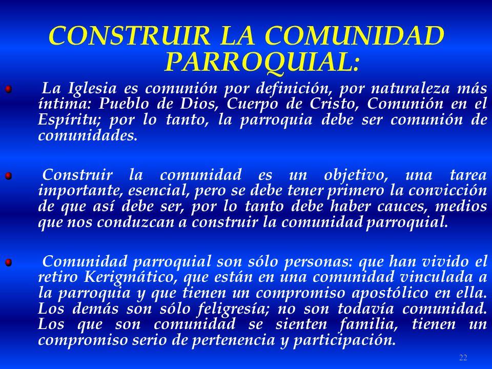22 CONSTRUIR LA COMUNIDAD PARROQUIAL: La Iglesia es comunión por definición, por naturaleza más íntima: Pueblo de Dios, Cuerpo de Cristo, Comunión en
