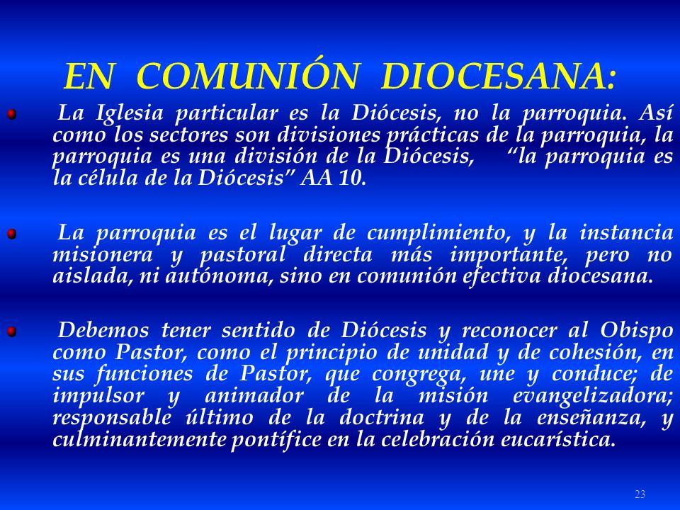 23 EN COMUNIÓN DIOCESANA: La Iglesia particular es la Diócesis, no la parroquia. Así como los sectores son divisiones prácticas de la parroquia, la pa