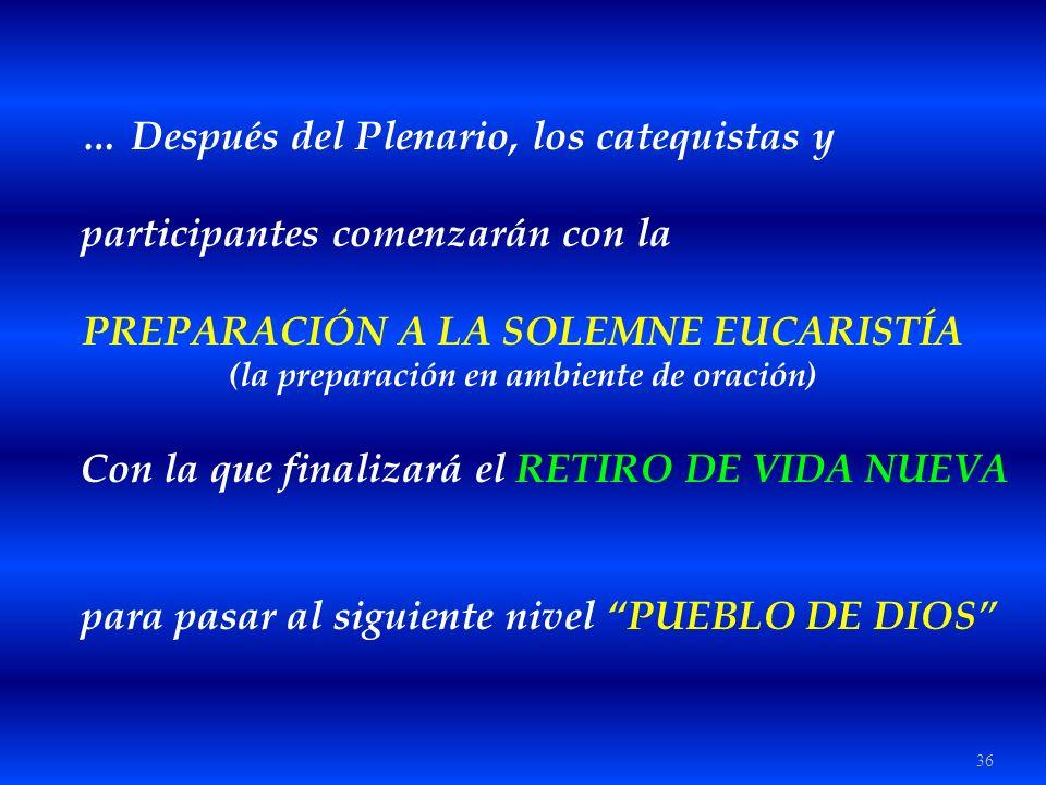 36 … Después del Plenario, los catequistas y participantes comenzarán con la PREPARACIÓN A LA SOLEMNE EUCARISTÍA (la preparación en ambiente de oració