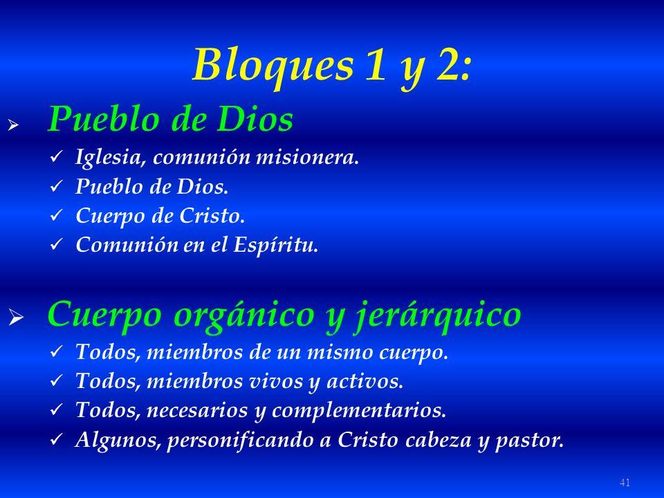 41 Bloques 1 y 2: Pueblo de Dios Iglesia, comunión misionera. Pueblo de Dios. Cuerpo de Cristo. Comunión en el Espíritu. Cuerpo orgánico y jerárquico