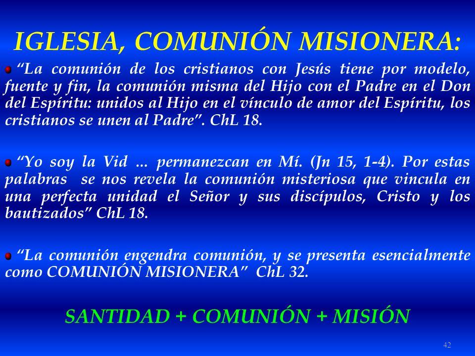 42 IGLESIA, COMUNIÓN MISIONERA: La comunión de los cristianos con Jesús tiene por modelo, fuente y fin, la comunión misma del Hijo con el Padre en el