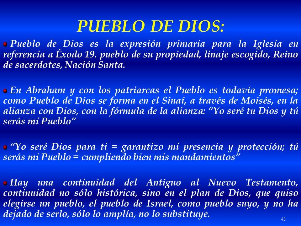 43 PUEBLO DE DIOS: Pueblo de Dios es la expresión primaria para la Iglesia en referencia a Éxodo 19. pueblo de su propiedad, linaje escogido, Reino de