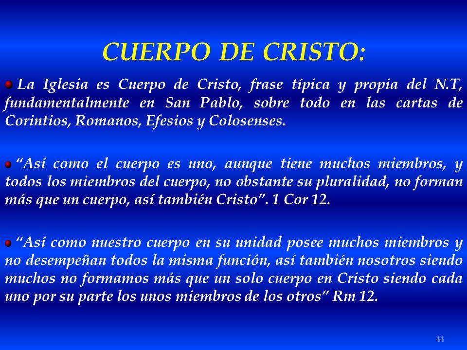 44 CUERPO DE CRISTO: La Iglesia es Cuerpo de Cristo, frase típica y propia del N.T, fundamentalmente en San Pablo, sobre todo en las cartas de Corinti