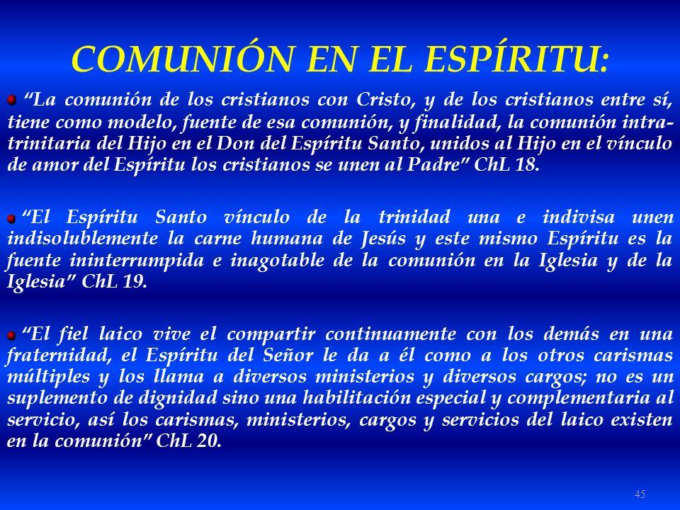 45 COMUNIÓN EN EL ESPÍRITU: La comunión de los cristianos con Cristo, y de los cristianos entre sí, tiene como modelo, fuente de esa comunión, y final