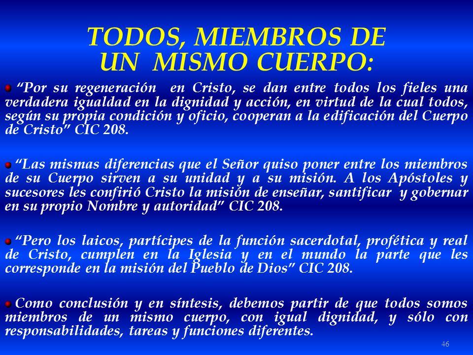 46 TODOS, MIEMBROS DE UN MISMO CUERPO: Por su regeneración en Cristo, se dan entre todos los fieles una verdadera igualdad en la dignidad y acción, en
