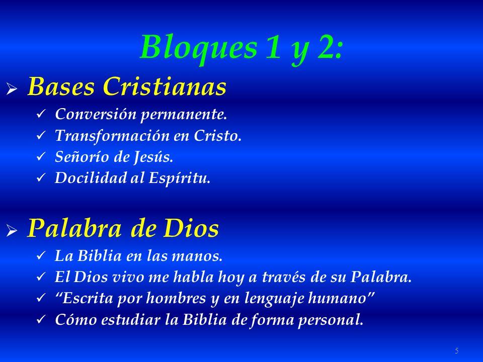 5 Bloques 1 y 2: Bases Cristianas Conversión permanente. Transformación en Cristo. Señorío de Jesús. Docilidad al Espíritu. Palabra de Dios La Biblia