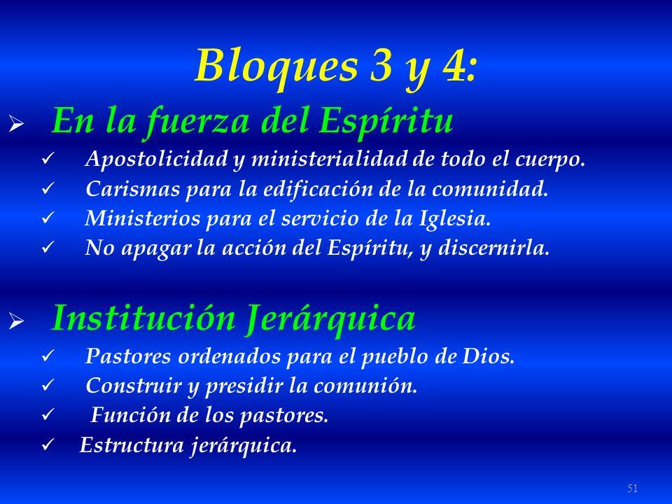 51 Bloques 3 y 4: En la fuerza del Espíritu Apostolicidad y ministerialidad de todo el cuerpo. Carismas para la edificación de la comunidad. Ministeri