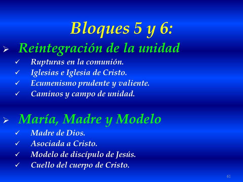 61 Bloques 5 y 6: Reintegración de la unidad Rupturas en la comunión. Iglesias e Iglesia de Cristo. Ecumenismo prudente y valiente. Caminos y campo de