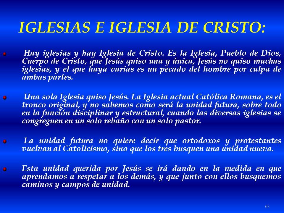 63 IGLESIAS E IGLESIA DE CRISTO: Hay iglesias y hay Iglesia de Cristo. Es la Iglesia, Pueblo de Dios, Cuerpo de Cristo, que Jesús quiso una y única, J