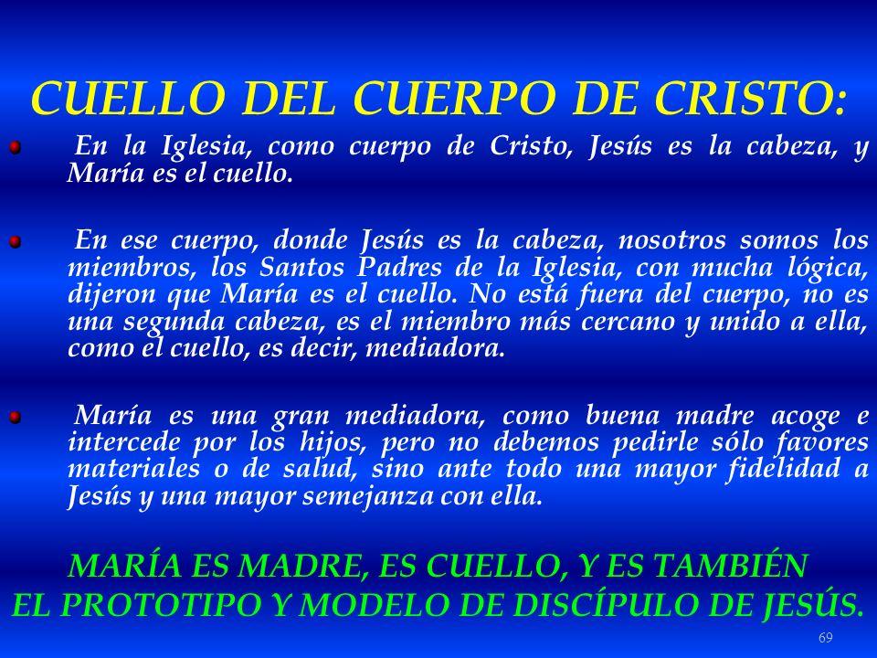 69 CUELLO DEL CUERPO DE CRISTO: En la Iglesia, como cuerpo de Cristo, Jesús es la cabeza, y María es el cuello. En ese cuerpo, donde Jesús es la cabez