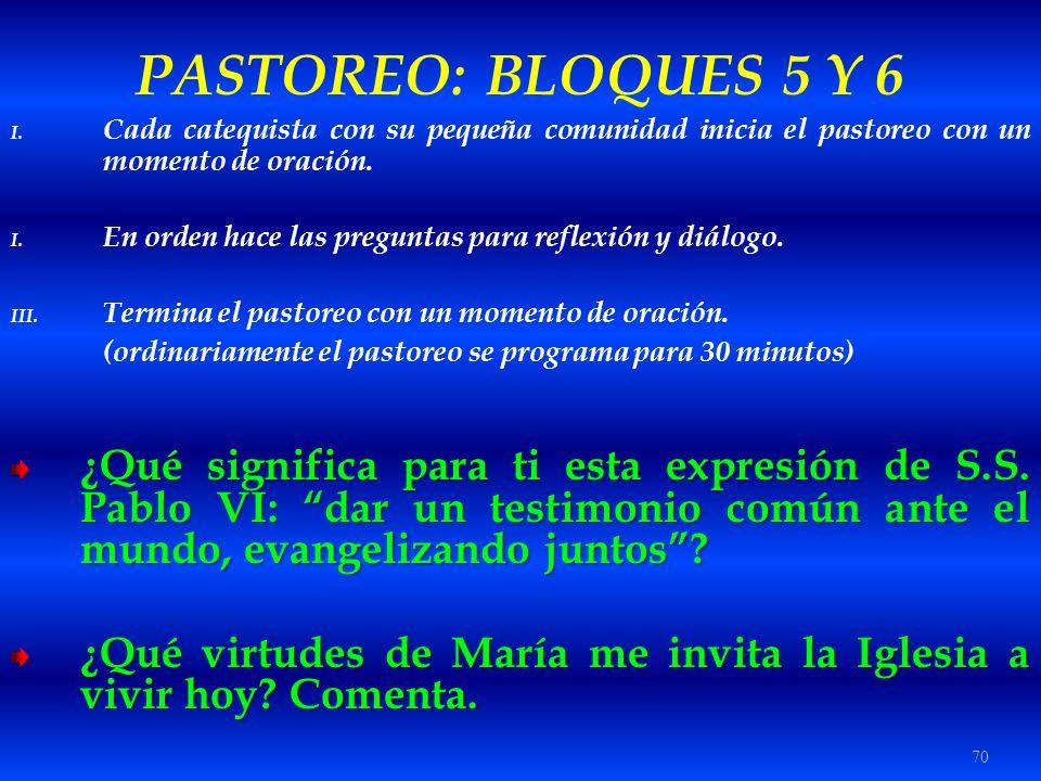 70 PASTOREO: BLOQUES 5 Y 6 I. Cada catequista con su pequeña comunidad inicia el pastoreo con un momento de oración. I. En orden hace las preguntas pa