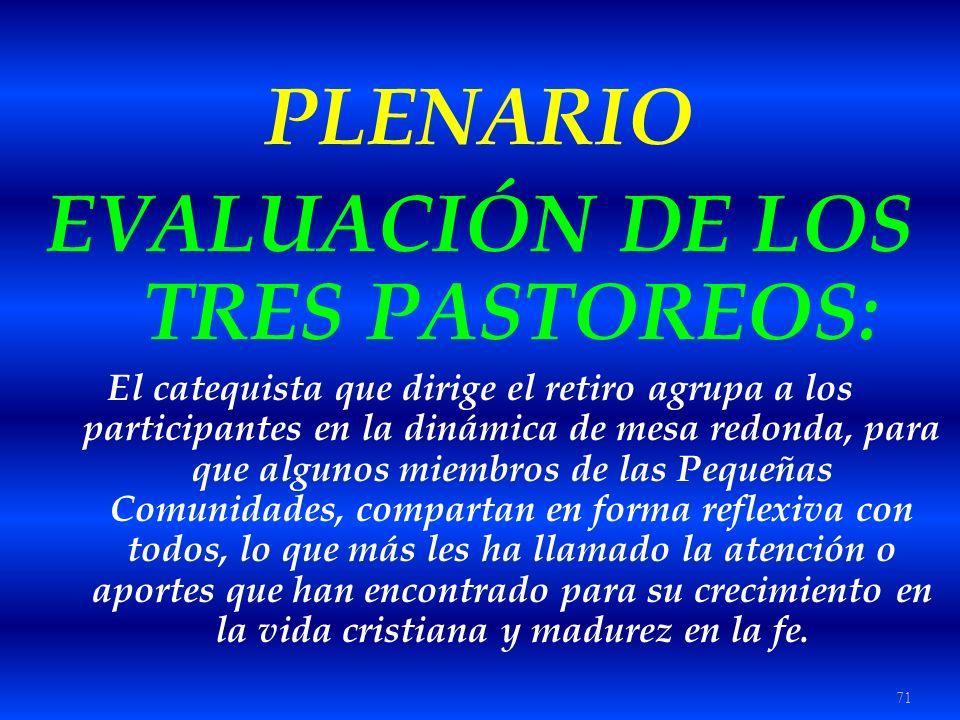 71 PLENARIO EVALUACIÓN DE LOS TRES PASTOREOS: El catequista que dirige el retiro agrupa a los participantes en la dinámica de mesa redonda, para que a