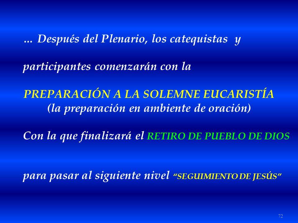72 … Después del Plenario, los catequistas y participantes comenzarán con la PREPARACIÓN A LA SOLEMNE EUCARISTÍA (la preparación en ambiente de oració