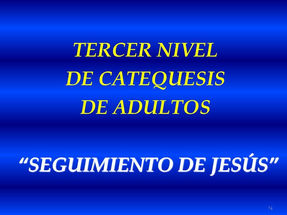 74 TERCER NIVEL DE CATEQUESIS DE ADULTOS SEGUIMIENTO DE JESÚS SEGUIMIENTO DE JESÚS