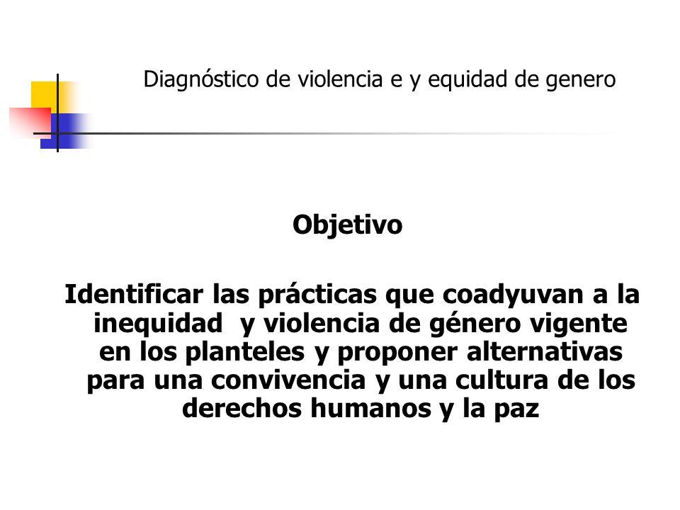 Objetivo Identificar las prácticas que coadyuvan a la inequidad y violencia de género vigente en los planteles y proponer alternativas para una conviv