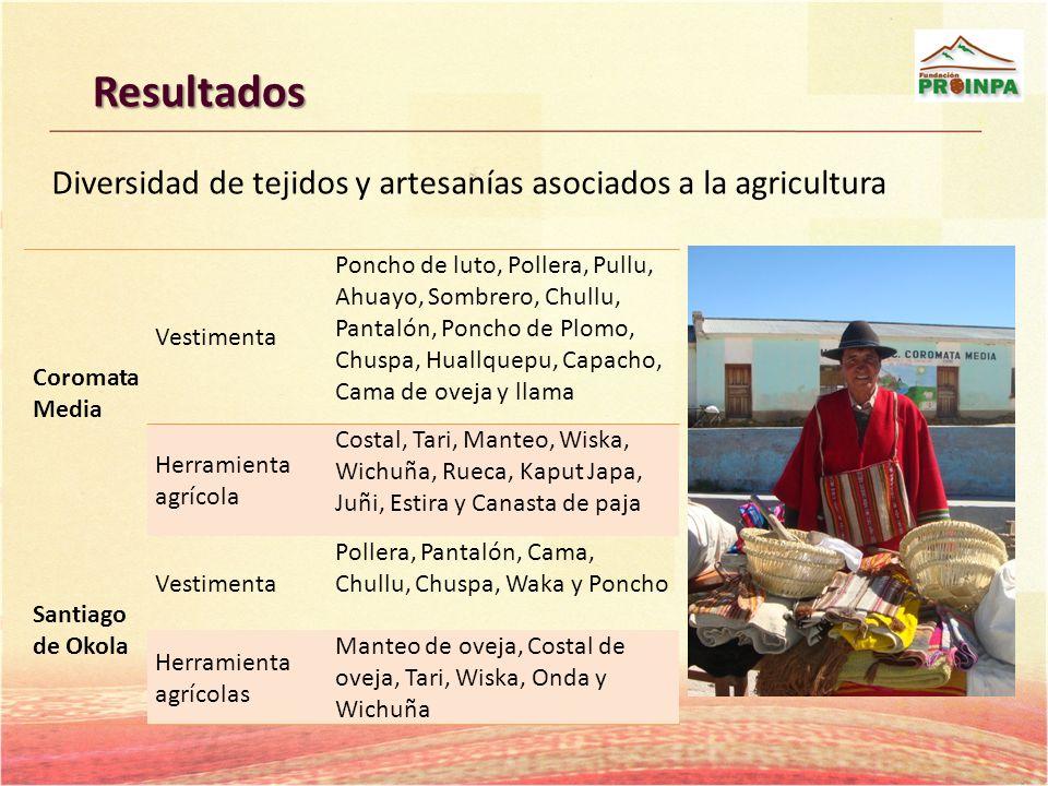 Resultados Coromata Media Vestimenta Poncho de luto, Pollera, Pullu, Ahuayo, Sombrero, Chullu, Pantalón, Poncho de Plomo, Chuspa, Huallquepu, Capacho,
