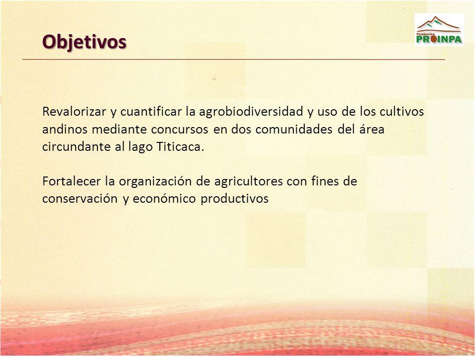 Objetivos Revalorizar y cuantificar la agrobiodiversidad y uso de los cultivos andinos mediante concursos en dos comunidades del área circundante al l
