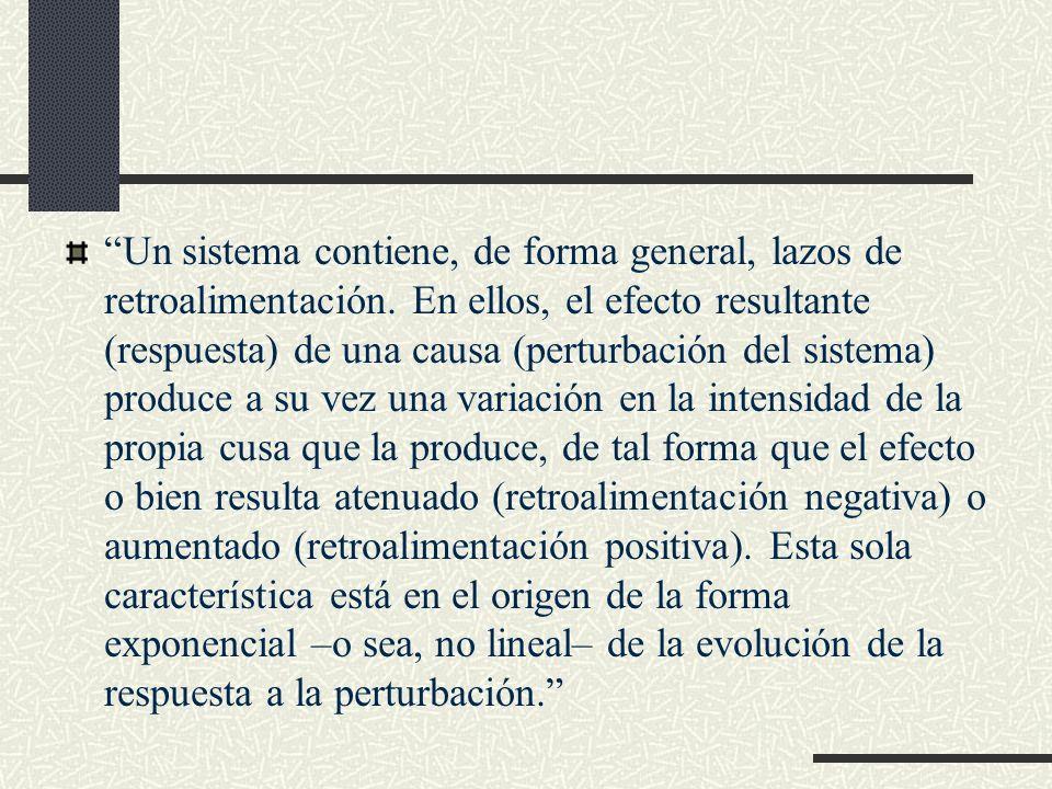 Un sistema contiene, de forma general, lazos de retroalimentación. En ellos, el efecto resultante (respuesta) de una causa (perturbación del sistema)