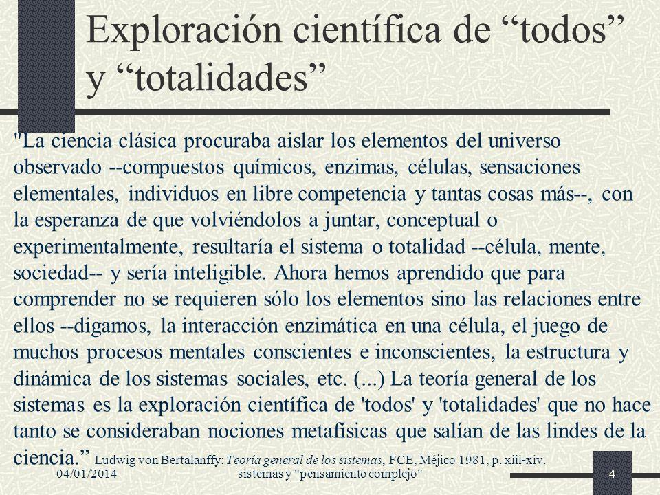 04/01/2014sistemas y pensamiento complejo 25 Propiedades emergentes Muy característico de los sistemas es la aparición de propiedades emergentes.