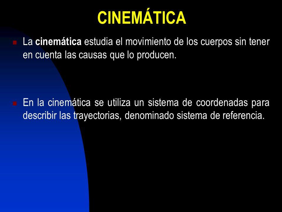 CINEMÁTICA La cinemática estudia el movimiento de los cuerpos sin tener en cuenta las causas que lo producen. En la cinemática se utiliza un sistema d