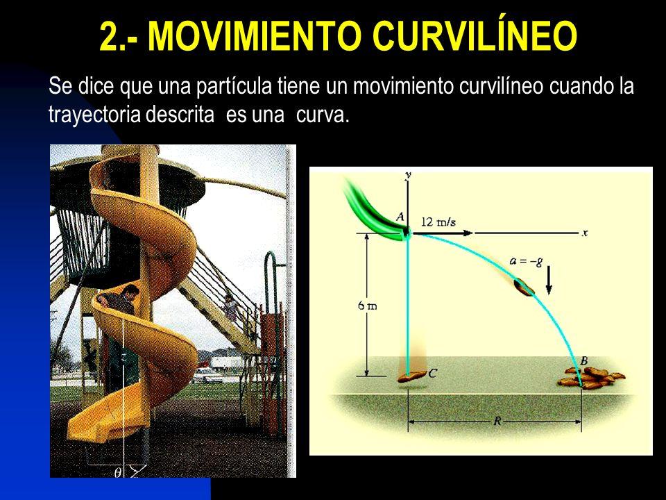 2.- MOVIMIENTO CURVILÍNEO Se dice que una partícula tiene un movimiento curvilíneo cuando la trayectoria descrita es una curva.