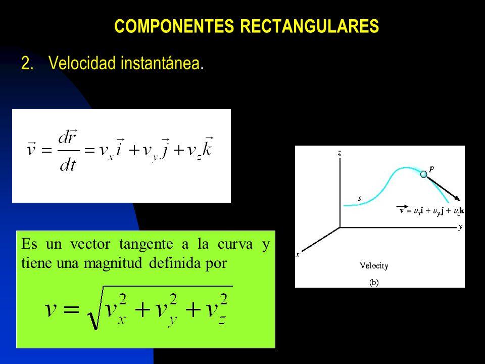 COMPONENTES RECTANGULARES 2.Velocidad instantánea. Es un vector tangente a la curva y tiene una magnitud definida por