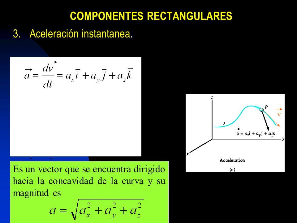 COMPONENTES RECTANGULARES 3.Aceleración instantanea. Es un vector que se encuentra dirigido hacia la concavidad de la curva y su magnitud es v