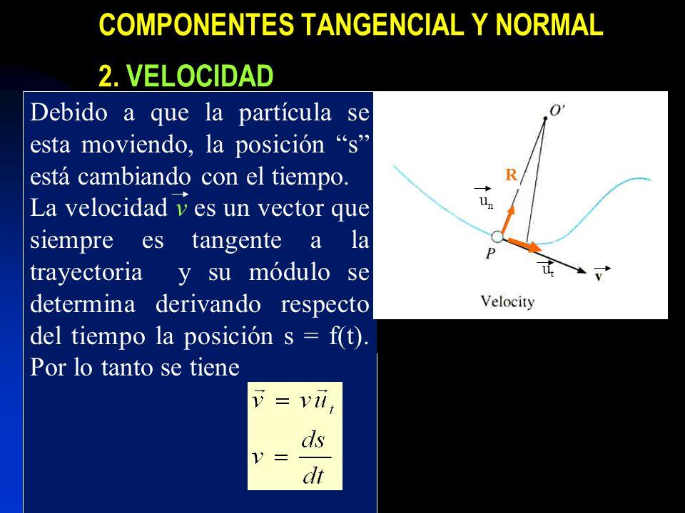 COMPONENTES TANGENCIAL Y NORMAL 2. VELOCIDAD Debido a que la partícula se esta moviendo, la posición s está cambiando con el tiempo. La velocidad v es