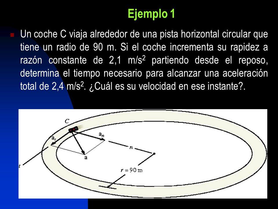 Ejemplo 1 Un coche C viaja alrededor de una pista horizontal circular que tiene un radio de 90 m. Si el coche incrementa su rapidez a razón constante