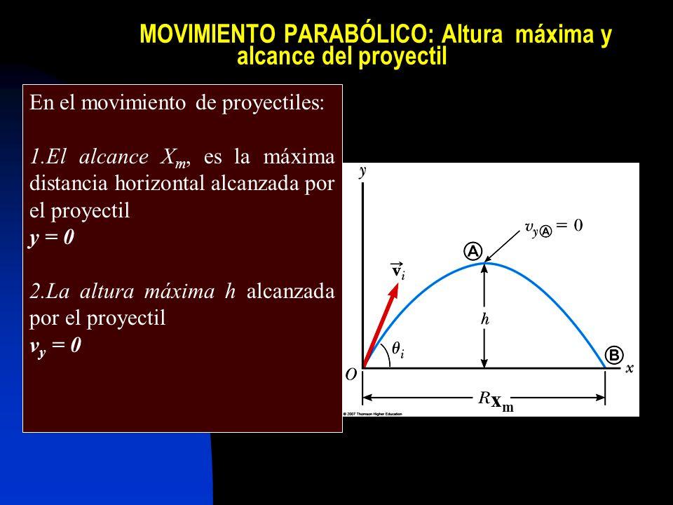 MOVIMIENTO PARABÓLICO: Altura máxima y alcance del proyectil En el movimiento de proyectiles: 1.El alcance X m, es la máxima distancia horizontal alca