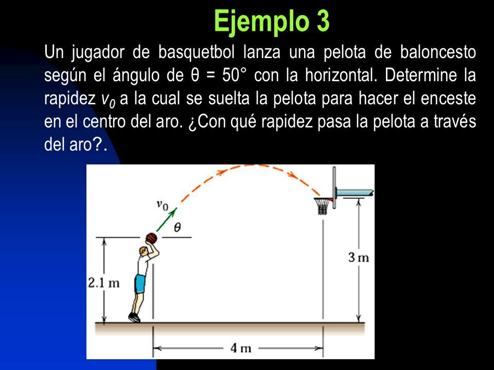 Ejemplo 3 Un jugador de basquetbol lanza una pelota de baloncesto según el ángulo de θ = 50° con la horizontal. Determine la rapidez v 0 a la cual se
