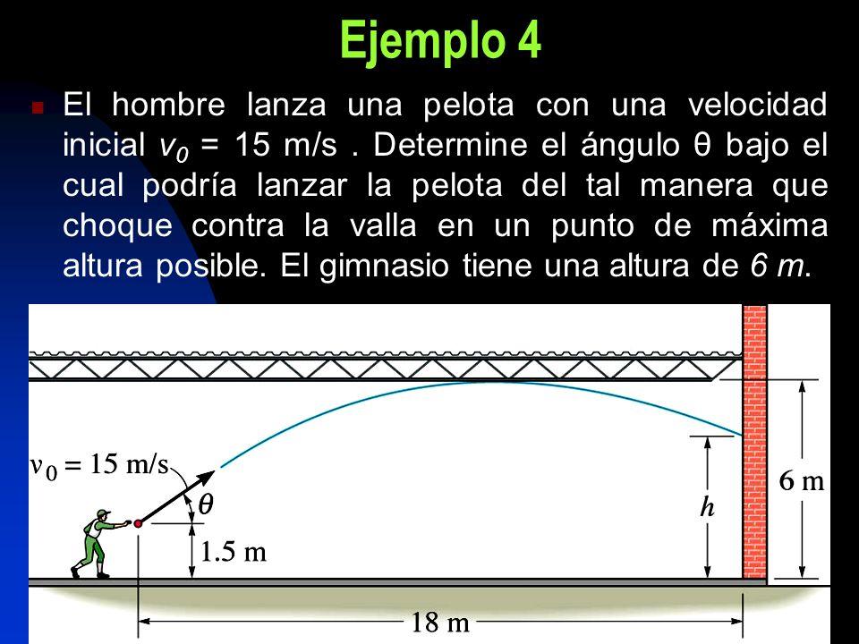 Ejemplo 4 El hombre lanza una pelota con una velocidad inicial v 0 = 15 m/s. Determine el ángulo θ bajo el cual podría lanzar la pelota del tal manera