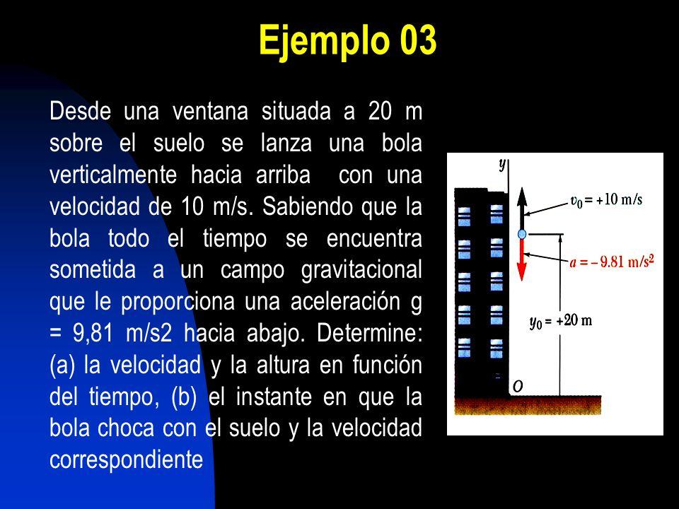 Ejemplo 03 Desde una ventana situada a 20 m sobre el suelo se lanza una bola verticalmente hacia arriba con una velocidad de 10 m/s. Sabiendo que la b