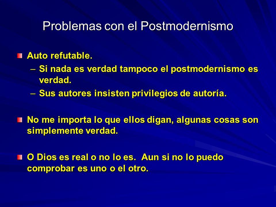 Problemas con el Postmodernismo Auto refutable. –Si nada es verdad tampoco el postmodernismo es verdad. –Sus autores insisten privilegios de autoría.