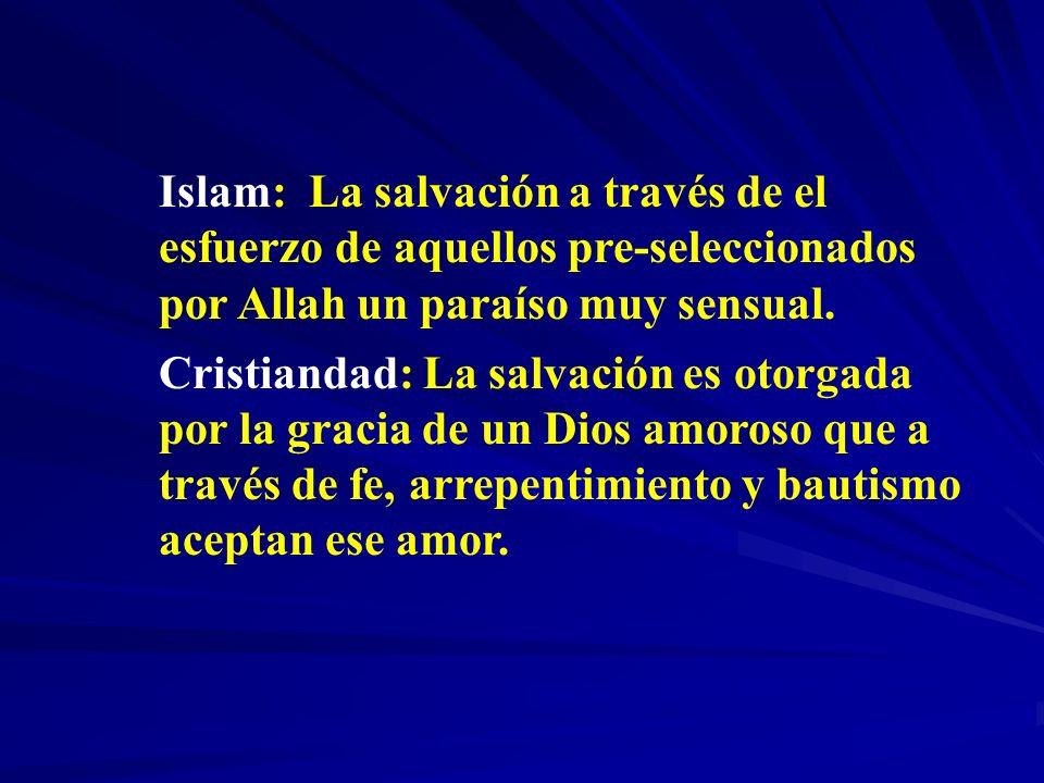 Islam: La salvación a través de el esfuerzo de aquellos pre-seleccionados por Allah un paraíso muy sensual. Cristiandad: La salvación es otorgada por