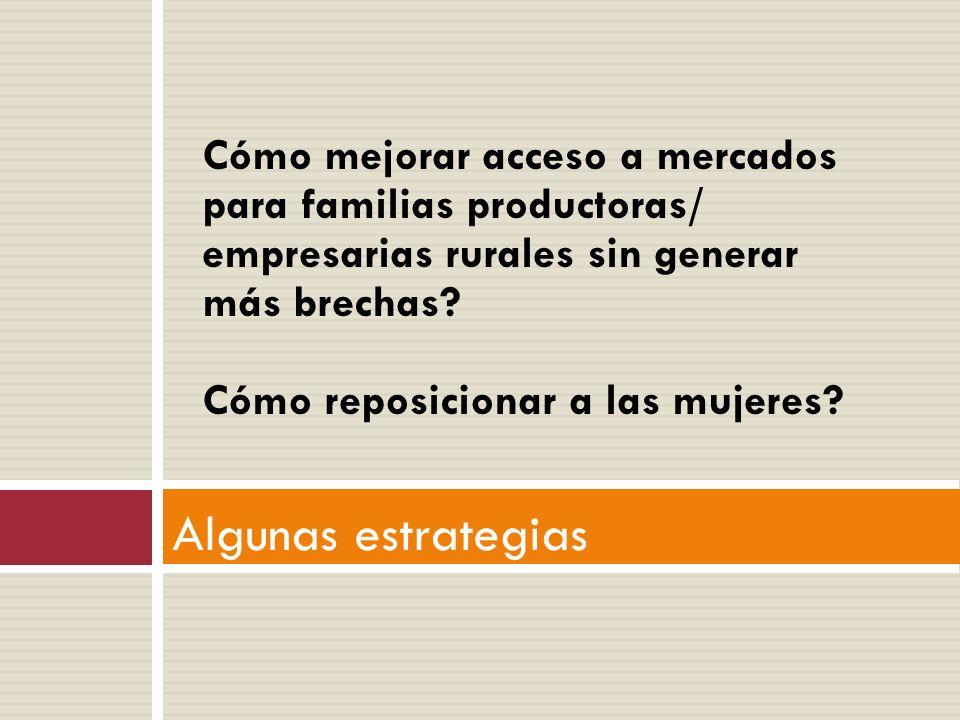 Algunas estrategias Cómo mejorar acceso a mercados para familias productoras/ empresarias rurales sin generar más brechas.