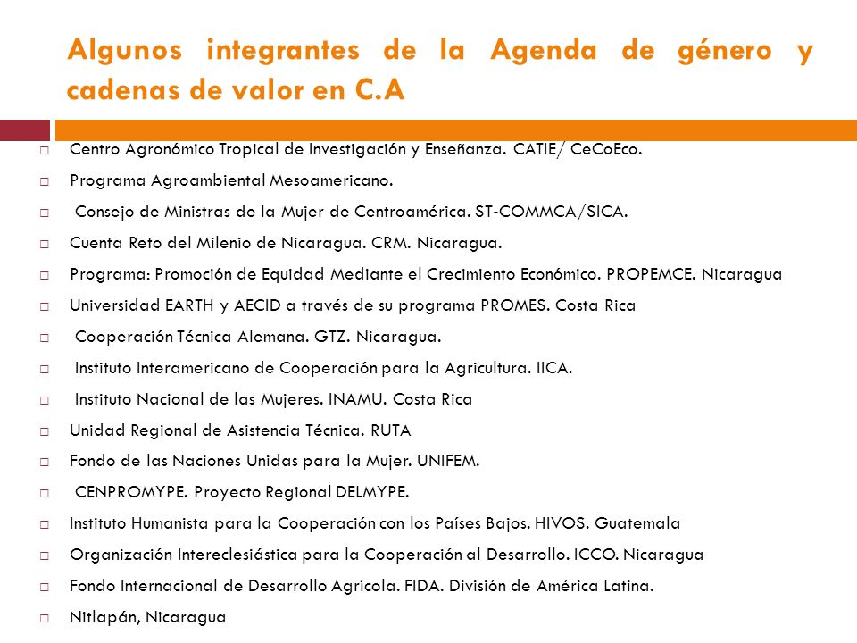 Algunos integrantes de la Agenda de género y cadenas de valor en C.A Centro Agronómico Tropical de Investigación y Enseñanza.