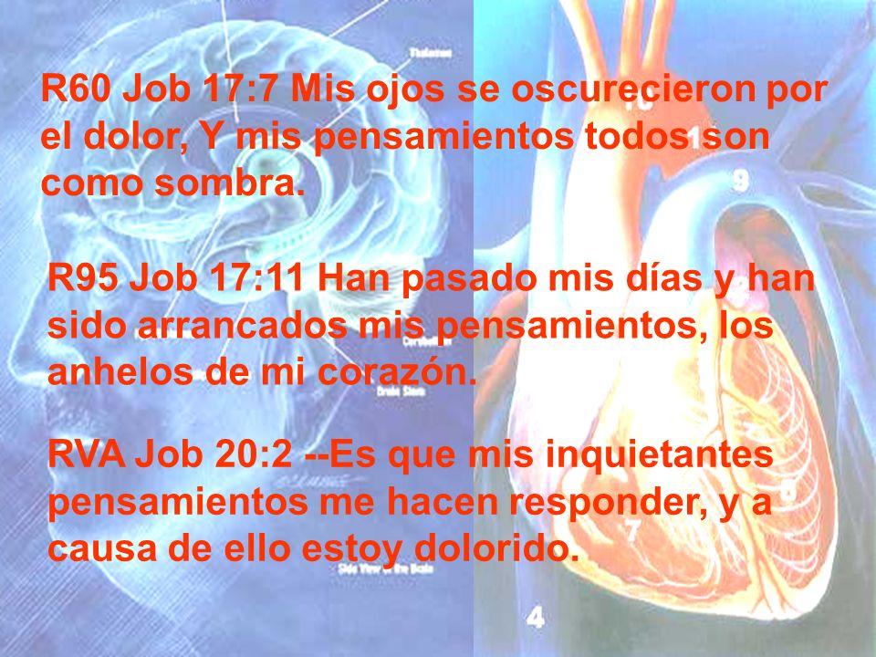 R60 Job 17:7 Mis ojos se oscurecieron por el dolor, Y mis pensamientos todos son como sombra. R95 Job 17:11 Han pasado mis días y han sido arrancados
