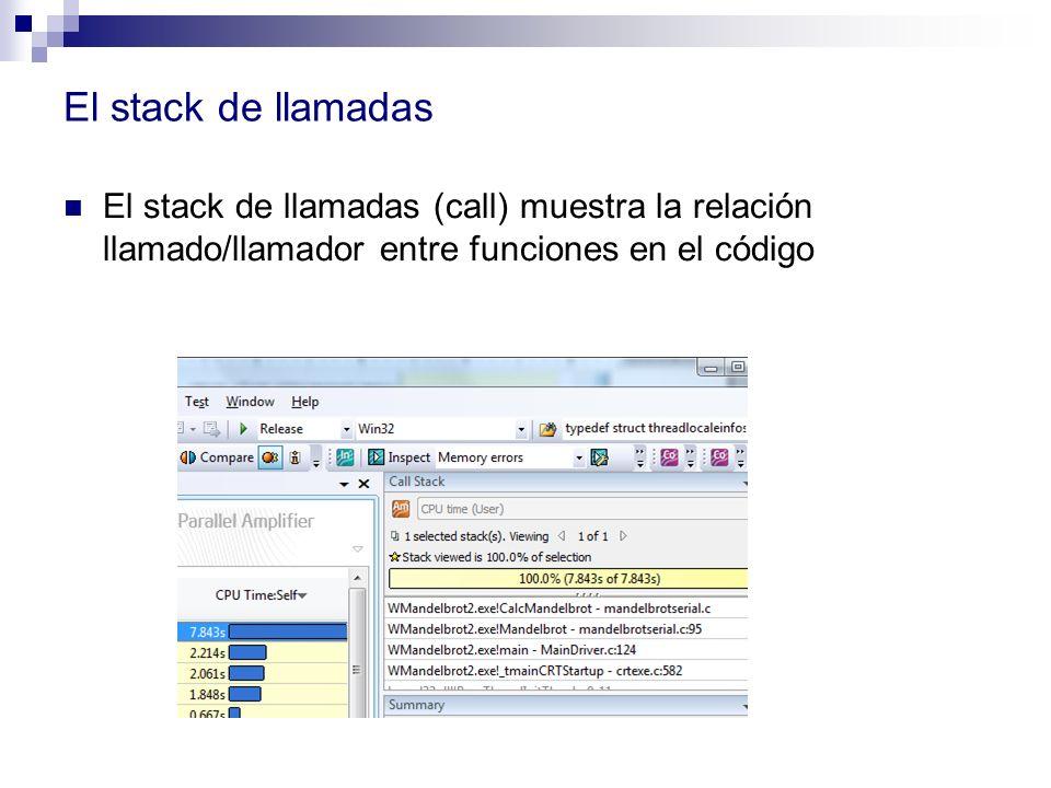 El stack de llamadas El stack de llamadas (call) muestra la relación llamado/llamador entre funciones en el código