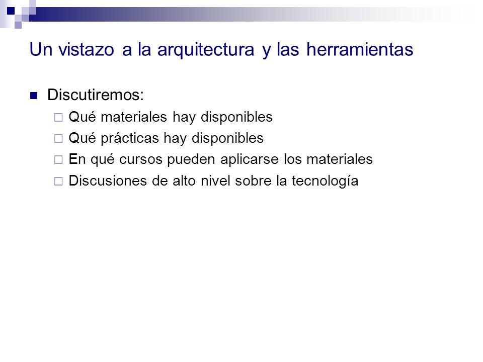 Un vistazo a la arquitectura y las herramientas Discutiremos: Qué materiales hay disponibles Qué prácticas hay disponibles En qué cursos pueden aplica