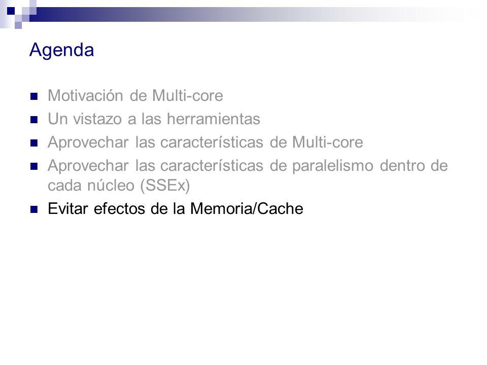 Agenda Motivación de Multi-core Un vistazo a las herramientas Aprovechar las características de Multi-core Aprovechar las características de paralelis