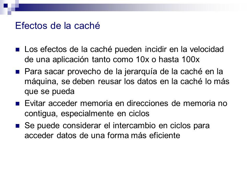 Efectos de la caché Los efectos de la caché pueden incidir en la velocidad de una aplicación tanto como 10x o hasta 100x Para sacar provecho de la jer