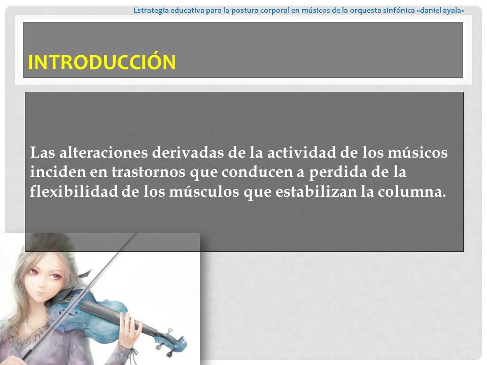Las alteraciones derivadas de la actividad de los músicos inciden en trastornos que conducen a perdida de la flexibilidad de los músculos que estabilizan la columna.