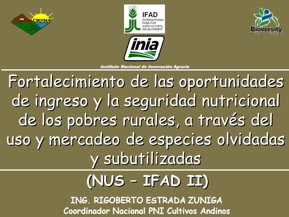 Fortalecimiento de las oportunidades de ingreso y la seguridad nutricional de los pobres rurales, a través del uso y mercadeo de especies olvidadas y subutilizadas ING.
